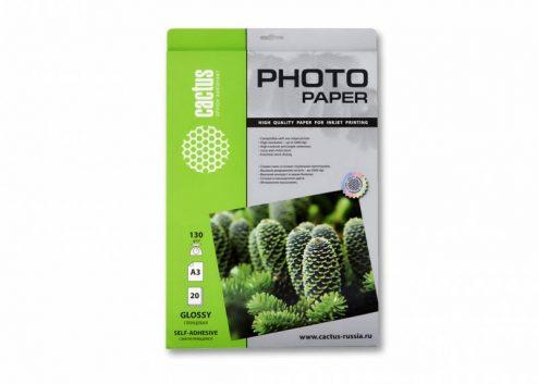 Самоклеящаяся бумага фотобумага Cactus CS-GSA313020 глянцевая А3 130 г/м2 20 листов