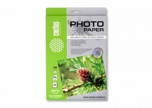 Самоклеящаяся бумага фотобумага Cactus CS-MSA410020  матовая А4 100 г/м2 20 листов